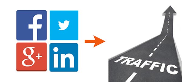 social media icons and road graphics